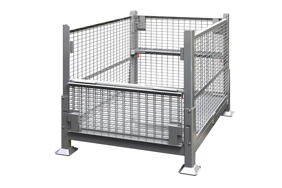 Collapsible Rigid Wire Container Dual Drop Gate 2