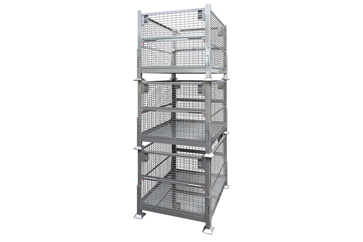 Collapsible Rigid Wire Container Dual Drop Gate 6