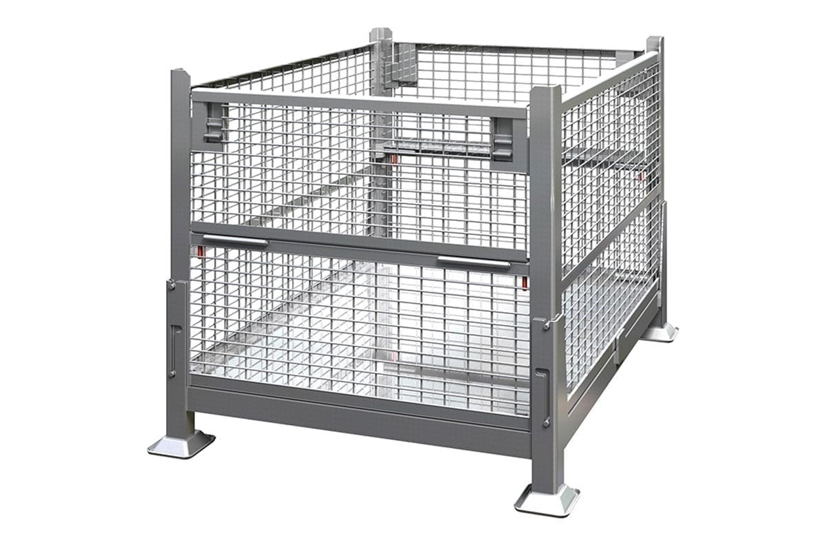 Collapsible Rigid Wire Container Dual Drop Gate 1